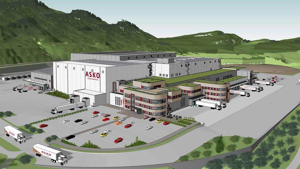Illustrasjonsbilde av ny ASKO lagerbygning i Sande